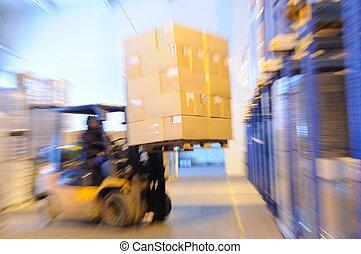cargador, en, un, almacén