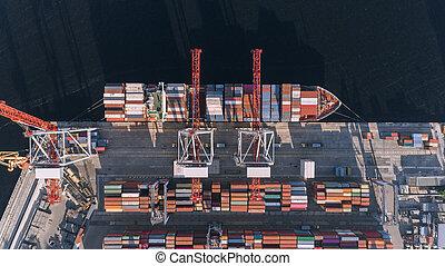 cargaison, aérien, business, transport, exportation, fret, importation, récipient, vue., bateau, logistique