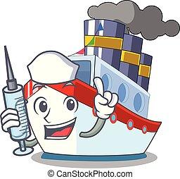 cargaison, aérien, dessin animé, bateau, infirmière, vue