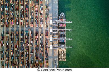 cargaison, aérien, navire porte-conteneurs, port, vue