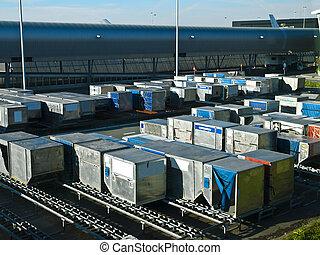 cargaison, aéroport, récipients