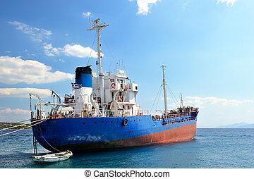 cargaison, amarré, bateau