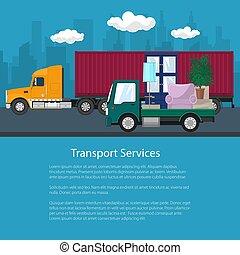 cargaison, aviateur, meubles, camion, camion