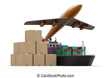 cargaison, bagage, bateau