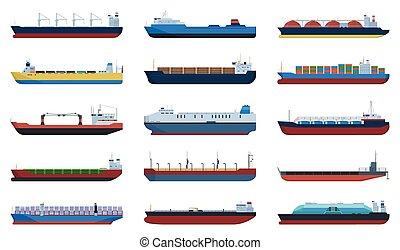 cargaison, blanc, vecteur, illustration, bateau, icône, arrière-plan., ensemble, icon., dessin animé, péniche