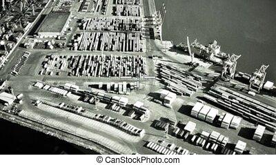 cargaison, bombardier, cible, infrarouge, war., attaque, appareil photo, récipients, militaire, air, operation., seaport.