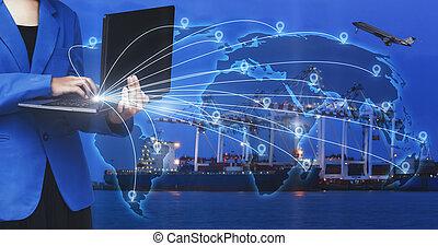cargaison, bussiness, industriel, récipient, logistique, femme travail, marchandises, ou, jeûne, ordinateur portable, concept, fret expédition, ligne, devant, instant, bateau, ordres, transport