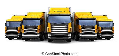 cargaison, camions, isolé, fond, blanc, rang
