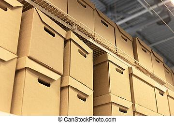 cargaison, carton, étagère, concept., boxes., lot, expédition, entrepôt, carton, ou
