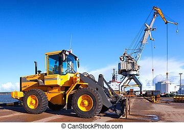 cargaison, chargement, élévateur, orange, grue, port, déchargement