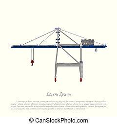 cargaison, chargement, ascenseur, crane., port, récipients