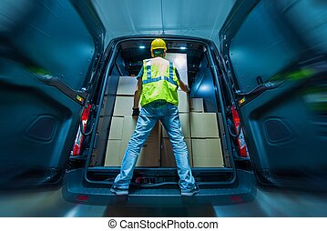 cargaison, chargement, fourgon