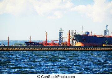 cargaison, chargement, gdansk, poland., bateau, port