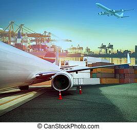 cargaison, chargement, récipient, business, avion, logistique, bateau, transport