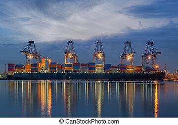 cargaison, chargement, récipient, fonctionnement, bateau fret, grue