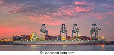 cargaison, chargement, récipient, fonctionnement, pont, bateau fret, grue