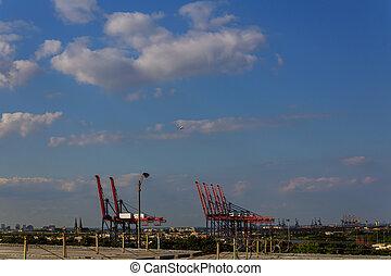 cargaison, chargement, récipient, fond, fonctionnement, grue, exportation, logistique, importation, bateau fret