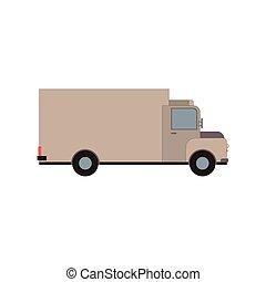 cargaison, commercial, isolé, illustration, livraison, vecteur, camion, white., fourgon