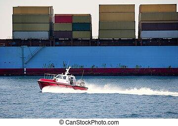 cargaison, comparé, récipient, pilotes, port, bateau