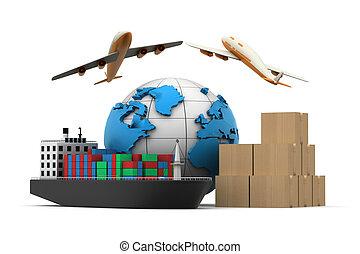 cargaison, concept, 3d, transport, mondiale