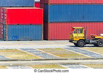 cargaison, concept, récipient, voiture, exportation, logistique, importation, camion, transport