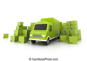 cargaison, concept, transport