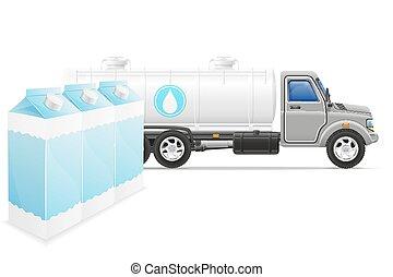cargaison, concept, transport, illustration, livraison, vecteur, camion, lait