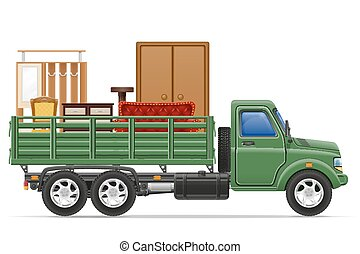cargaison, concept, transport, illustration, livraison, vecteur, camion, meubles