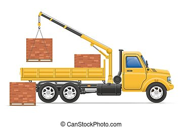 cargaison, concept, transport, illustration, matériels, livraison, vecteur, camion, construction