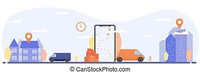 cargaison, concept, transport, poursuite
