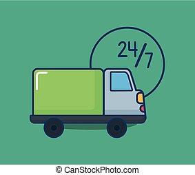 cargaison, conception, camion