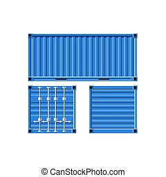cargaison, container., métal