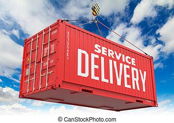 cargaison, container., service, -, livraison, pendre, rouges