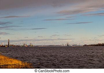 cargaison, cranes., récipient, riga, terminal, baltique, port