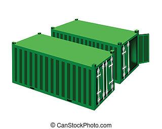cargaison, deux, arrière-plan vert, blanc, récipients