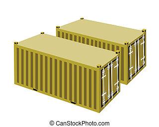 cargaison, deux, fond jaune, blanc, récipients