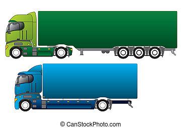 cargaison, différent, camions, européen