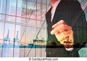 cargaison, double, écriture, homme affaires, avion, port, exposition