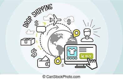 cargaison, dropship, achat, concept., goutte, expédition