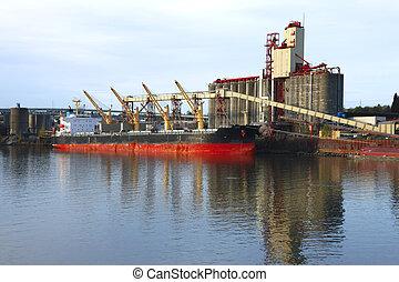 cargaison, dusk., &, ascenseurs, grain, bateau
