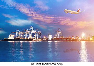 cargaison, dusk., récipient, fonctionnement, pont, chantier naval, bateau fret, grue