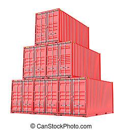 cargaison, empilé, sur, blanc rouge, récipients