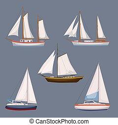 Cargaison Yacht Transport Navire Guerre Bateau Icones Voiture Maritime Eau Realiste Wherry Bateau Croisiere Canstock