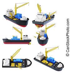 cargaison, ensemble, isolated., rendre, bateau, grue, 3d