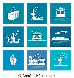 cargaison, ensemble, marin, icônes