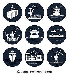 cargaison, ensemble, rond, icônes
