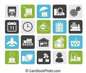 cargaison, expédition, icônes, logistique