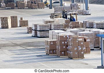 cargaison, fait, dans, porcelaine, à, les, aéroport