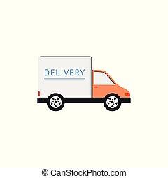 cargaison, fourgon, expédition, côté, camion livraison, vue., blanc