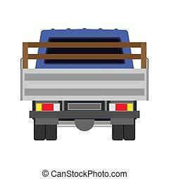 cargaison, fourgon, transport., automobile, industrie, véhicule, dos, plat, isolé, livraison, vecteur, voiture., expédition, logistique, commercial., camion, vue, camion, icône